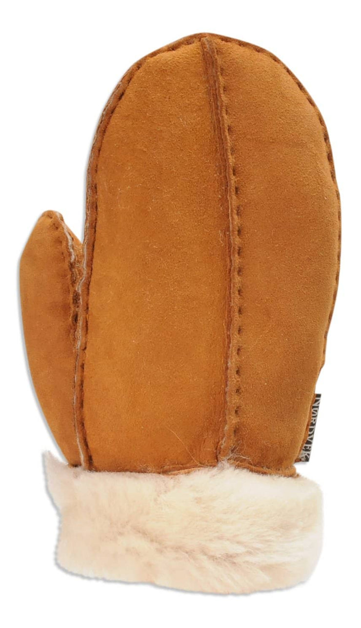 Nordvek childrens sheepskin mittens 325-100 chestnut back of hand