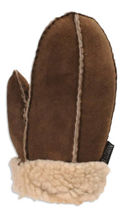 Nordvek childrens sheepskin mittens 325-100 chcolate back of hand