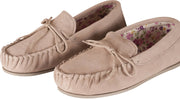 Womens Sheepskin Suede Moccasins - Fabric Lined - Non-Slip Rubber Sole