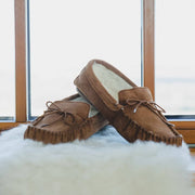 Nordvek mens moccasins soft sole  423-100 chesntut on sheepskin in front of window