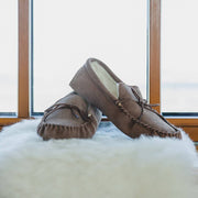 Nordvek mens moccasins soft sole  423-100 coffee on sheepskin in front of window