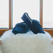 Nordvek mens moccasins soft sole  423-100 navy on sheepskin in front of window