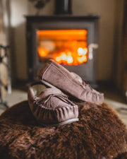 Nordvek womens moccasins hard sole  430-100 chocolate in front of fire on pouffe
