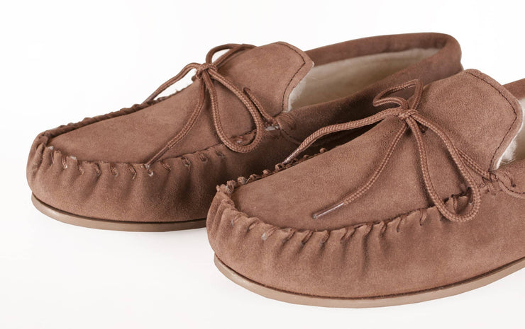 Womens Sheepskin Suede Moccasins - Wool Lined - Non-Slip Rubber Sole