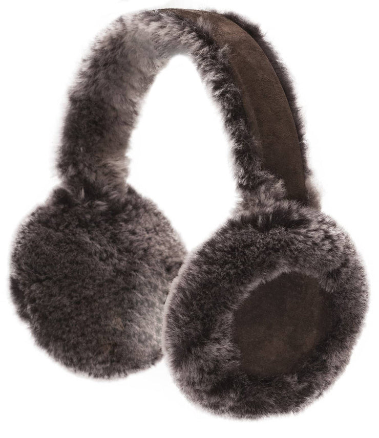 Nordvek womens sheepskin earmuffs 506-100 grey and chocolate on fence front