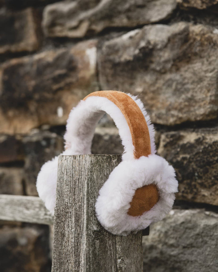 Nordvek womens sheepskin earmuffs 506-100 tan on fence side
