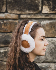 Nordvek womens sheepskin earmuffs 506-100 Tan model wearing