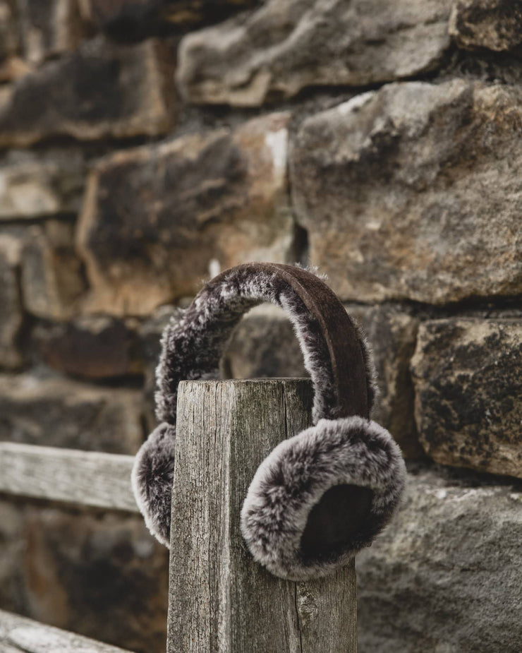 Nordvek womens sheepskin earmuffs 506-100 grey and black on fence front