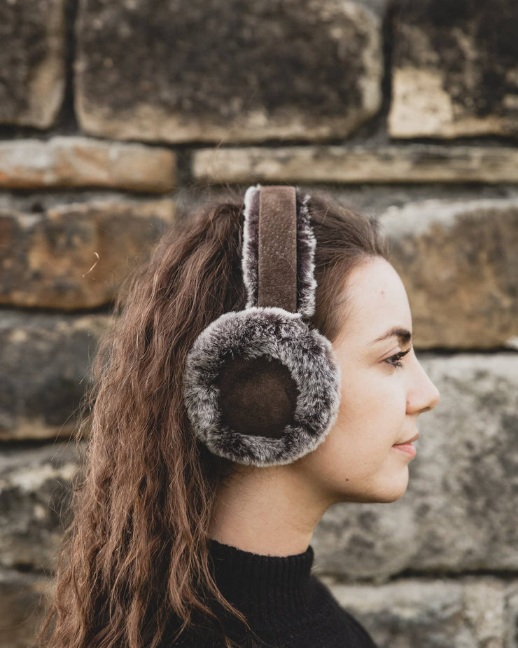 Nordvek womens sheepskin earmuffs 506-100 grey and chocolate model wearing