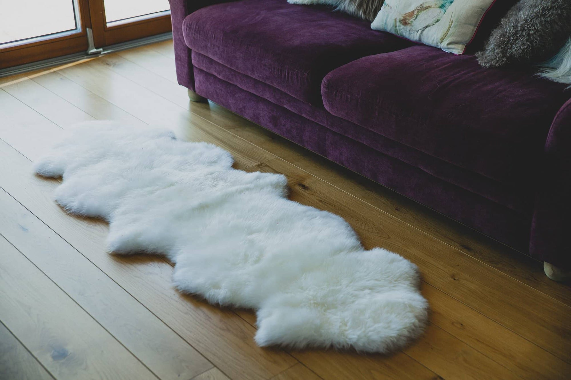 Nordvek sheepskin  natural rug 602-100 double in front of sofa close up