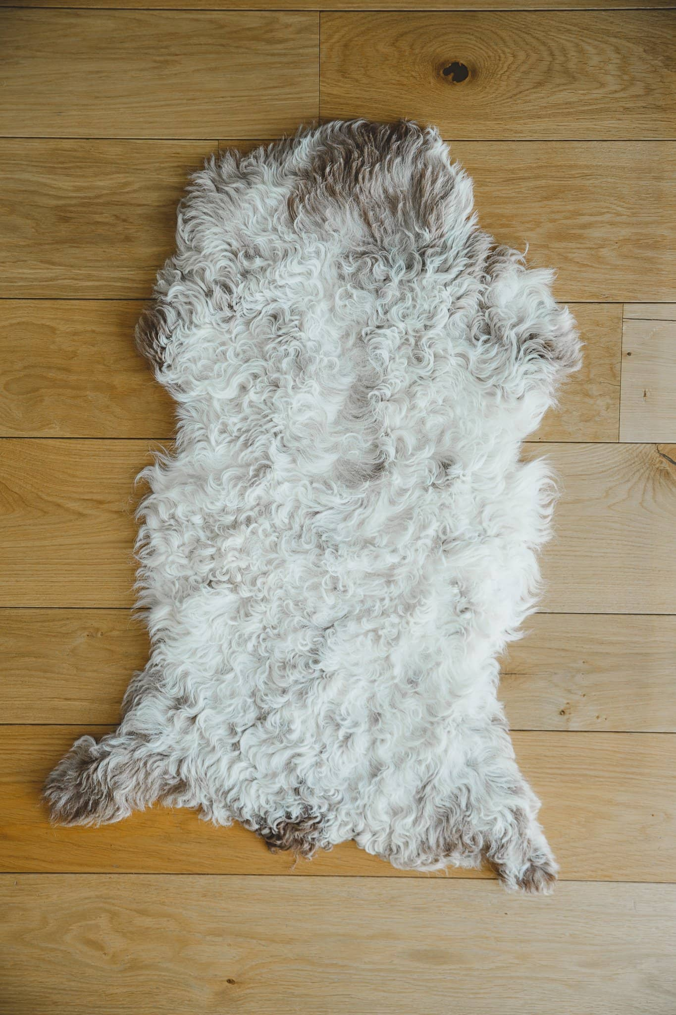 Nordvek Spanish sheepskin rug 616-100 design 1 in front of fire