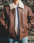 Nordvek mens sheepskin aviator leather jacket 701-100 front on model