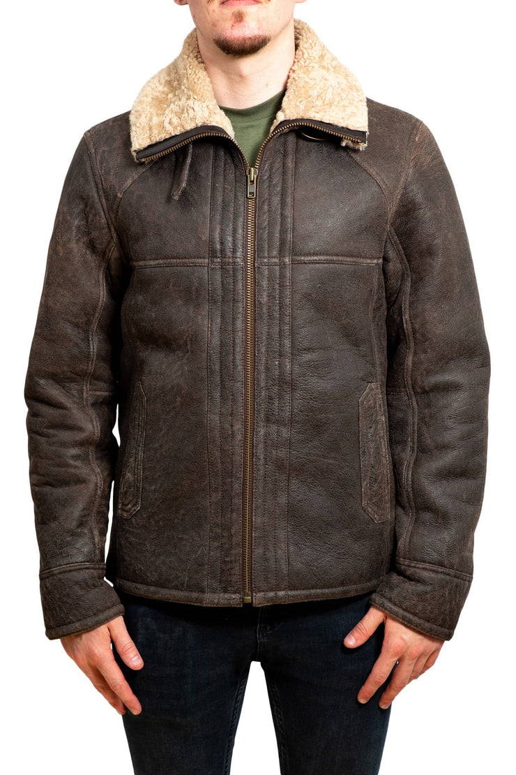 Nordvek mens sheepskin jacket 702-100 chocolate front