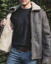 Mens Sheepskin Aviator Nappa Leather Jacket