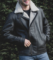 Mens Sheepskin Aviator Nappa Leather Flying Jacket