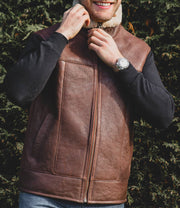 Nordvek mens sheepskin aviator gilet 704-100 tan on model side on