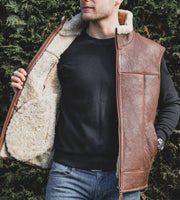 Nordvek mens sheepskin aviator gilet 704-100 tan on model showing detail