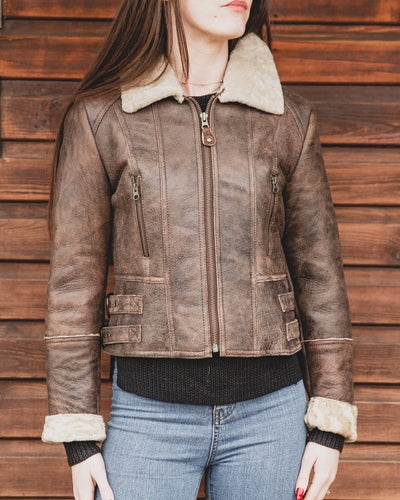 Nordvek womens sheepskin jacket 708-100 chocolate on model front zipped up