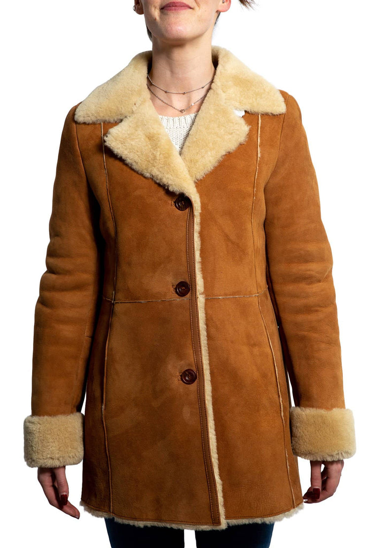 Nordvek womens sheepskin jacket 709-100 tan front