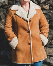 Nordvek womens sheepskin jacket 709-100 tan on model side