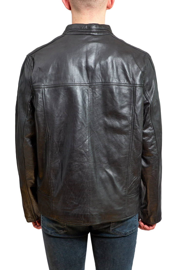 Nordvek mens leather jacket 712-100 black back