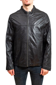 Nordvek mens leather jacket 712-100 black front