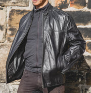 Nordvek mens leather jacket 712-100 black on model front open