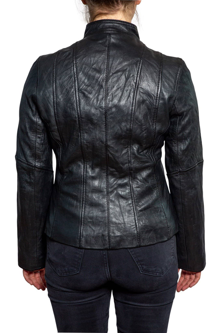 Nordvek womens leather jacket 714-100 black back
