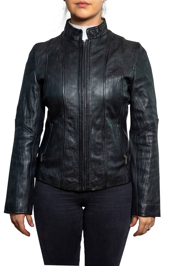Nordvek womens leather jacket 714-100 black front