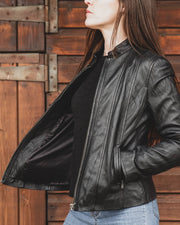 Nordvek womens leather jacket 714-100 black on model showing inside lining