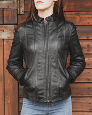 Nordvek womens leather jacket 714-100 black on model hands in pocket