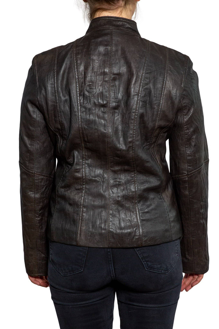 Nordvek womens leather jacket 714-100 brown back