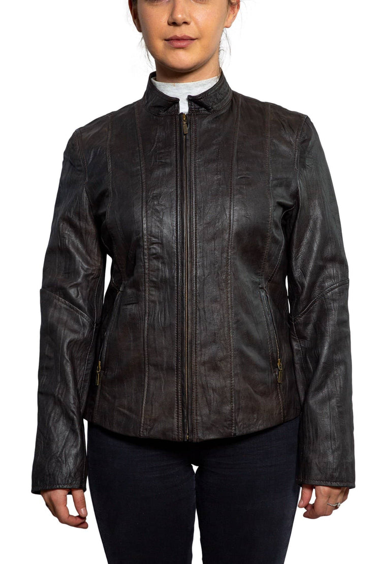 Nordvek womens leather jacket 714-100 brown front