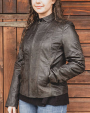 Nordvek womens leather jacket 714-100 brown on model full outfit