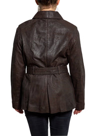 womens leather jacket 715-100 chocolate on model back