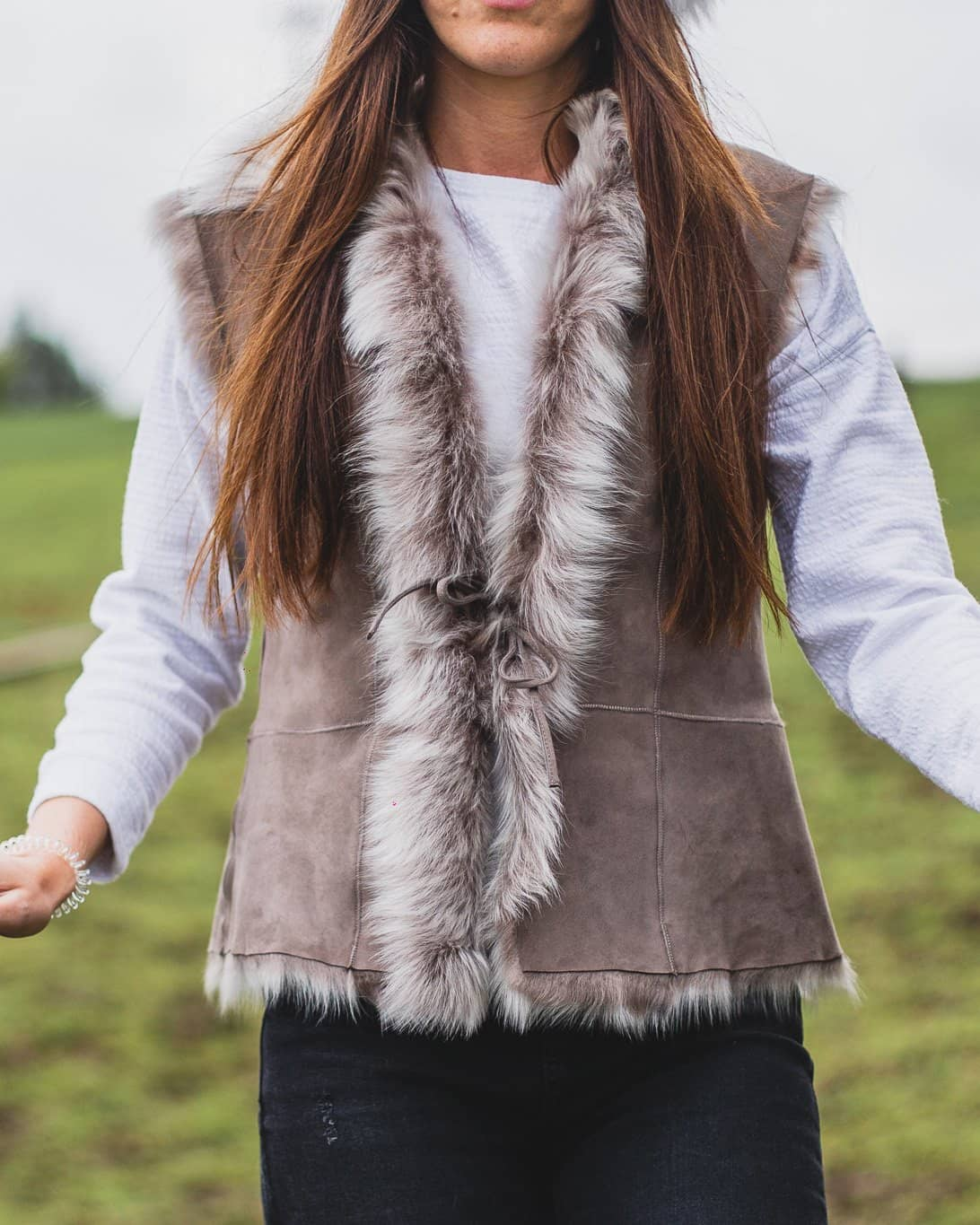 Nordvek womens sheepskin gilet 716-100 stone close up shot