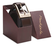 Hawkdale mens leather belt 820-400 chocolate boxed shot