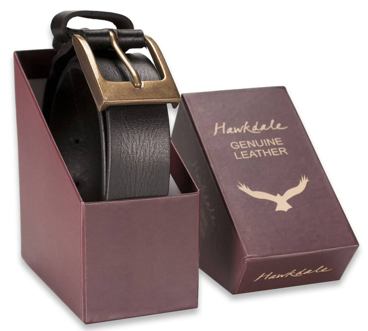 Hawkdale mens leather belt 8R-F02-400 black boxed shot