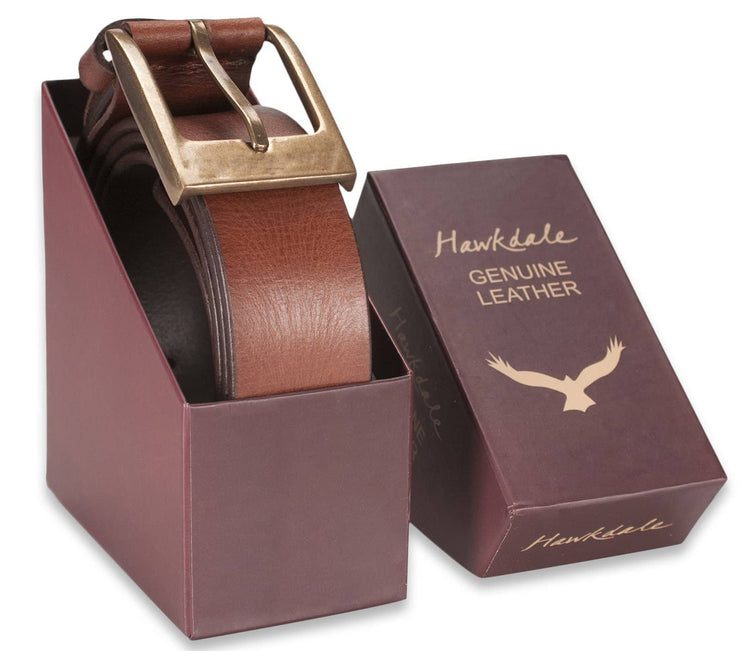 Hawkdale mens leather belt 8R-F02-400 brown boxed shot