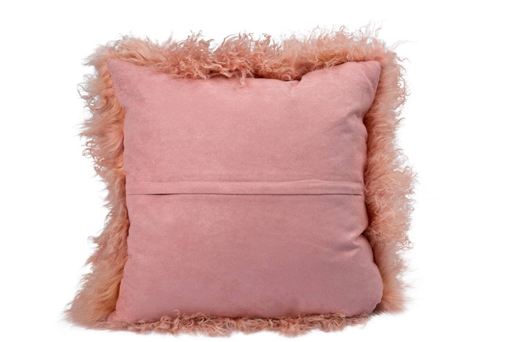 Nordvek mongolian sheepskin cushion 9013-100 pink back