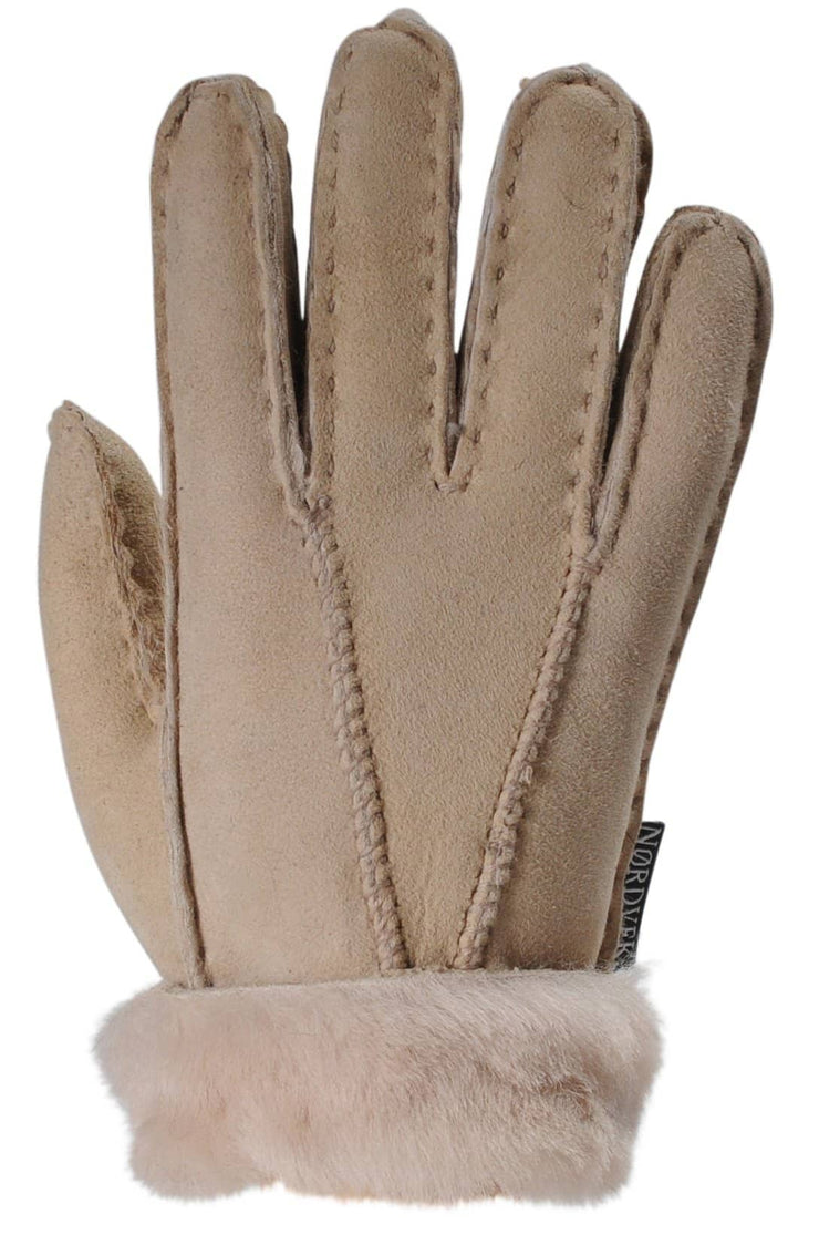 Nordvek childrens sheepskin gloves 313-100 beige back of hand