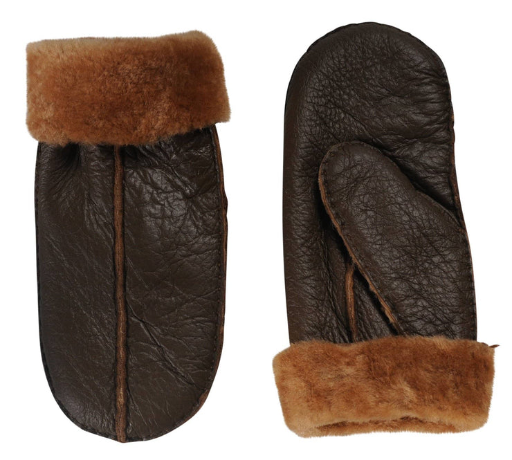 Nordvek womens sheepskin mittens 315-100 brown side by side