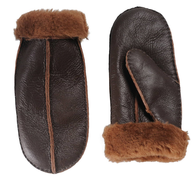 Nordvek womens sheepskin mittens 315-100 choc side by side
