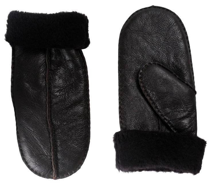Nordvek womens sheepskin mittens 315-100 dark chocside by side