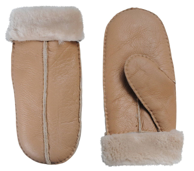 Nordvek womens sheepskin mittens 315-100 light brown side by side