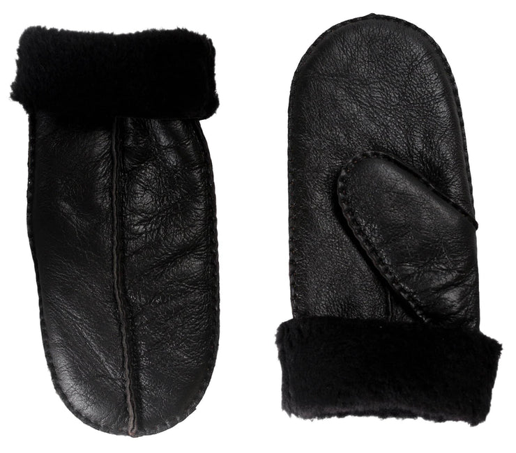 Nordvek womens sheepskin mittens 315-100 black side by side