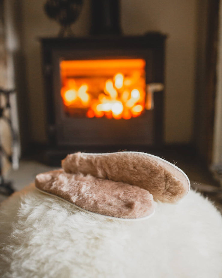 Nordvek adults sheepskin insoles 498-100 stone in front of fire