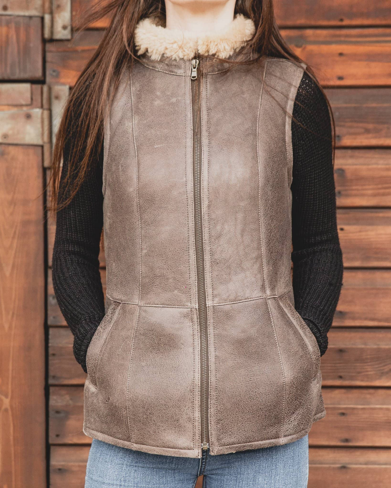 Nordvek womens sheepskin jacket 710-100 chocolate front open hands in pockets