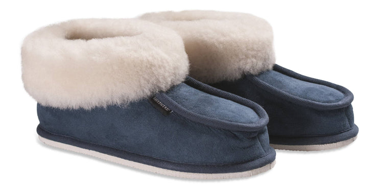 Womens Sheepskin Slippers - Classic Boot Style With Sheepskin Cuff - Rubber Sole