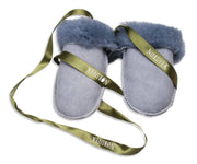 Nordvek sheepskin kids puddy mittens light blue with green ribbon 303-100